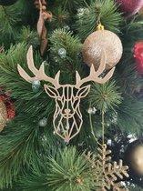 3d kersthanger hert set van 4 stuks goud GLITTER - kersthangers rendier - geometrisch hert- kerstdecorartie - kerstboomversiering - ornament -