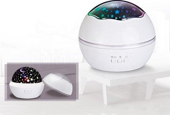 SterrenHemel NachtLamp - Roterende Sterren Projector- Projectie Lamp- Galaxy Projector- Kerst-  KinderKamer - Nachtlampje - Kinderen +Bijbehorende Kabel -Wit