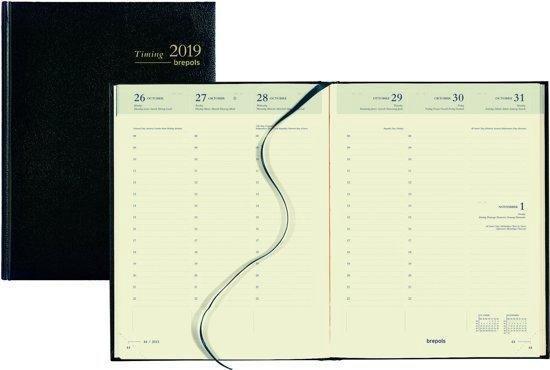 Agenda Brepols 2020 - Timing - 13 maanden - kleur zwart- CREME Papier - 17,5 x 23 cm