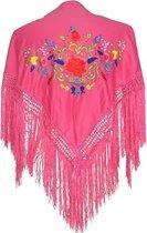 Spaanse manton - omslagdoek - voor kinderen - roze met bloemen - bij Flamencojurk