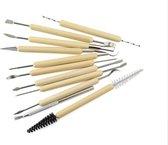 Afbeelding van Boetseer gereedschap voor klei - 11 stuks klei gereedschap met houten handvat speelgoed