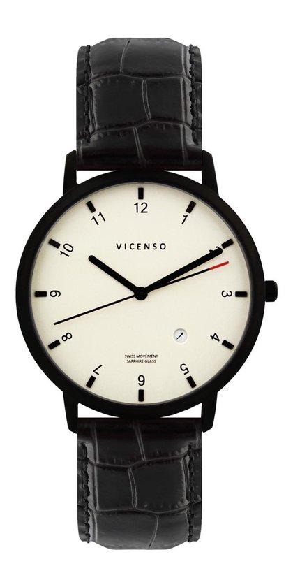 Vicenso Rome VI10027 Zwart PVD Wit/Zwart Croco