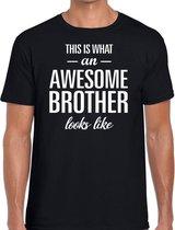 Awesome Brother tekst t-shirt zwart heren - heren fun tekst shirt zwart 2XL