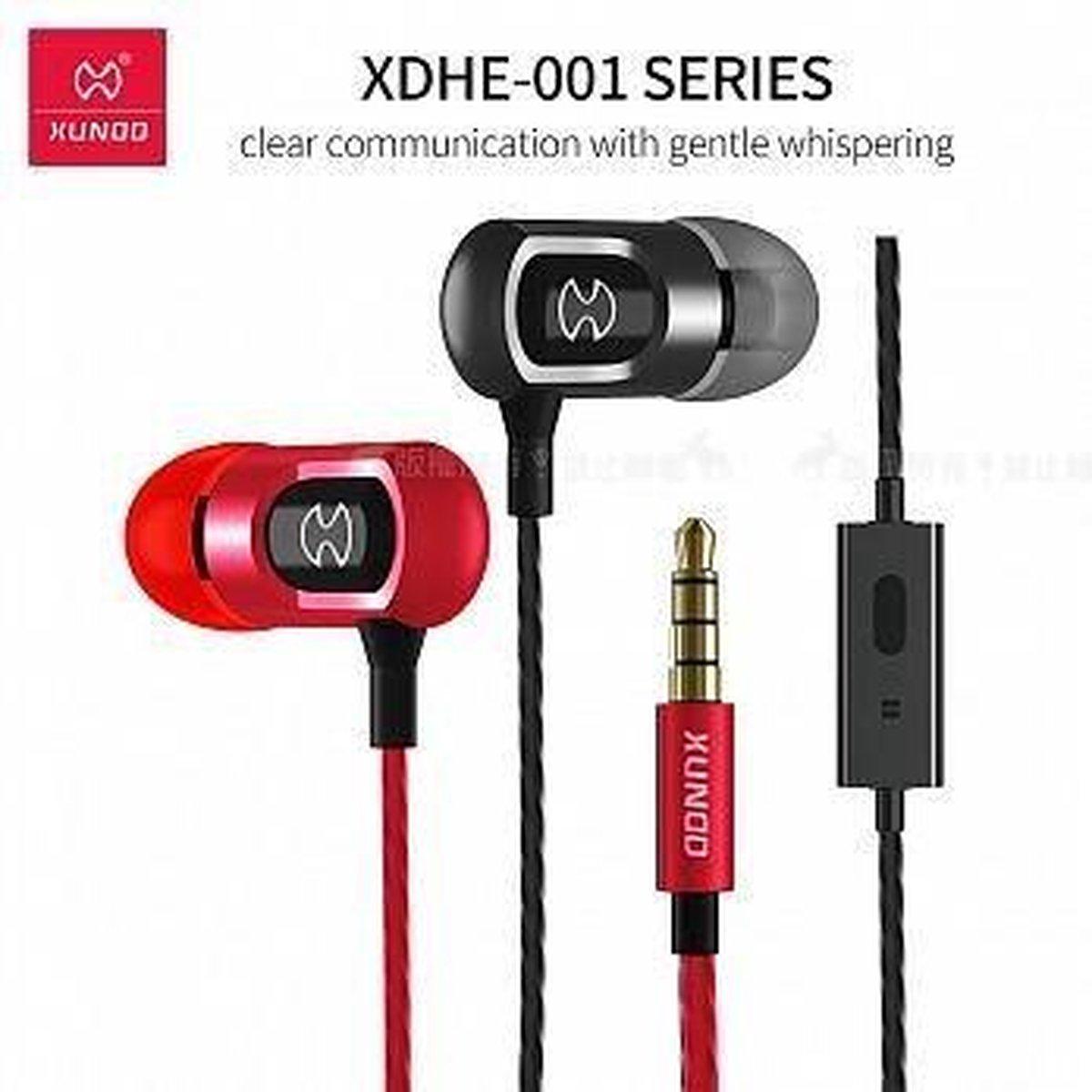 Xundd in-ear Headphone Metallic look & High Quality Sound Zwart