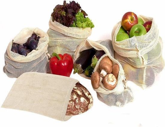 6 Herbruikbare mesh zakken– Verschillende maten (S, M, L) – Organische katoen - zero waste – Sterk, wasbaar en duurzame dubbel genaaide zakken – Verse producten, Fruitzak en Groentezak - Herbruikbare Zakjes -6 Tassen - Boodschappen - Broodzak