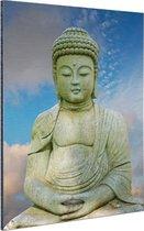 Stenen Boeddha Aluminium 120x180 cm - Foto print op Aluminium (metaal wanddecoratie) XXL / Groot formaat!