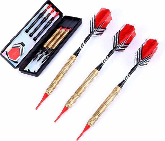 Afbeelding van het spel #DoYourDart - 3x Softtip dartpijlen - koperen barrel - aluminium shafts, 6x flights incl. Dartetui - 18,4g totaal gewicht pijlen - goudkleurig