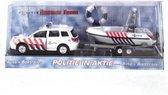 Schaalmodel politie auto met boot