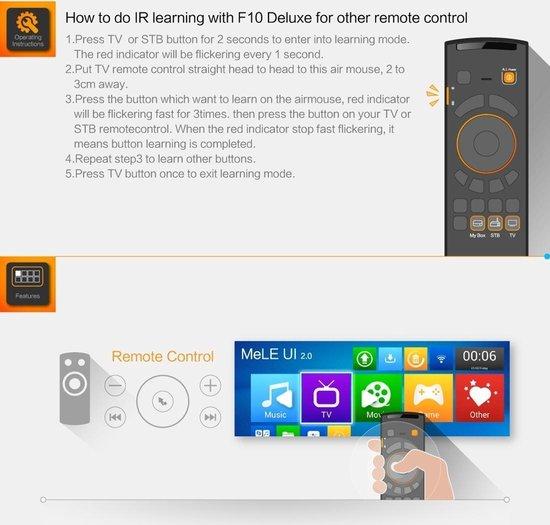 Mele F10 Deluxe 2.4GHz Fly Air Mouse draadloos QWERTY toetsenbord afstands bediening met IR Leerfunctie voor Android TV Box / Notebook / PC & MAC - MELE