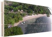 Luchtfoto van de kustlijn bij het boslandschap van het Nationaal park Alas Purwo Vurenhout met planken 80x40 cm - Foto print op Hout (Wanddecoratie)