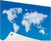 Wereldkaart wolken Tuinposter 200x100 cm XXL / Groot formaat!