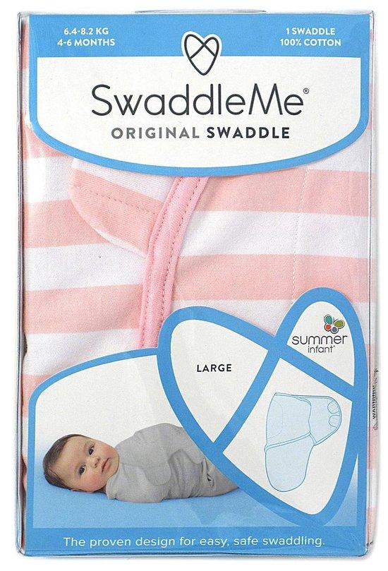 SwaddleMe inbakerdoek 3-6 mnd - Roze/wit strepen