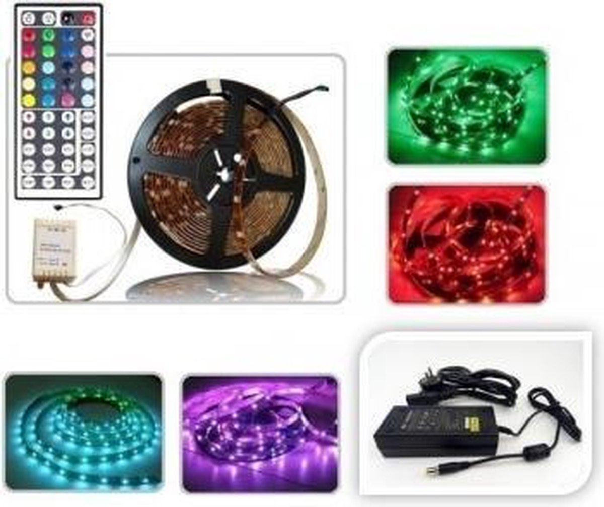 ABC-LED - Led strip - 5 m - RGB - Plug & play 24V Non-Waterproof - incl. 4-Zone Controller