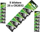 5 Blisters (25x) - GP CR2032 lithium batterij