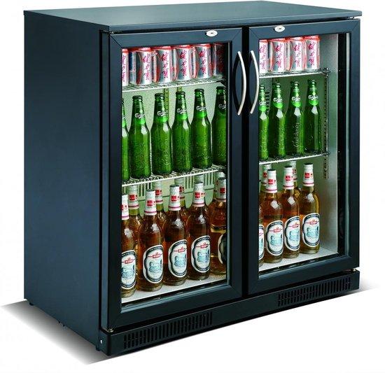 Koelkast: Horeca Drank Bar Koeling 2 Glasdeuren Zwart   198 Liter, van het merk Buffetnet