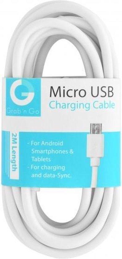 GnG Grab n Go Micro USB Kabel 2 Meter Wit
