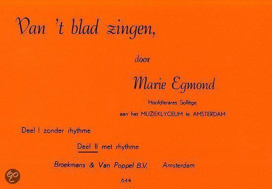 Van 't Blad Zingen Deel 2 (Met Rhythme) - Marie Egmond  