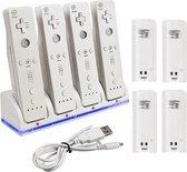 USB Oplaadstation met 4 accu's voor Wii controllers - Wit