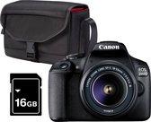 Canon EOS 2000D 18-55 DC + Cameratas + 16GB Geheugenkaart - Zwart