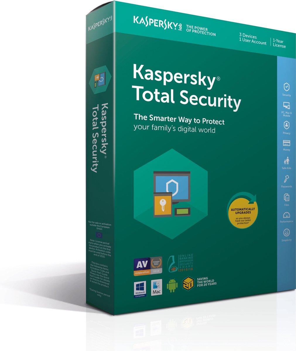 Kaspersky Total Security 2018 - 3 Apparaten - Nederlands / Frans - Windows / Mac / Android - Kaspersky