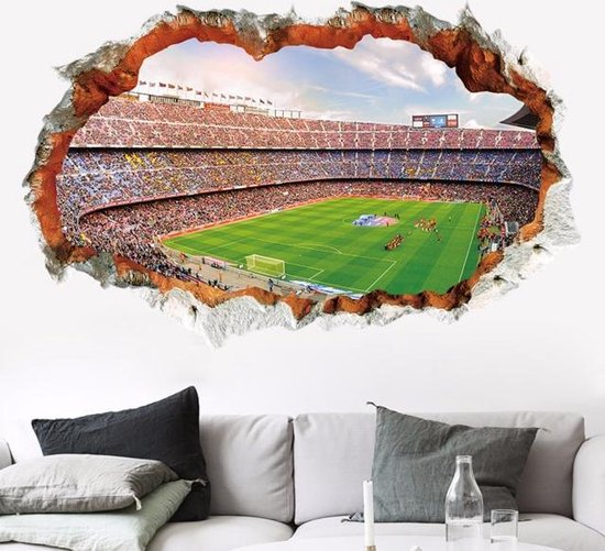 3D Voetbalstadion Muursticker Voetbal fans interieur voetbal sticker op de muur XL