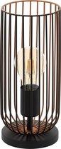 EGLO Roccamena - tafellamp - 1-lichts - E27 - zwart/koperkleurig