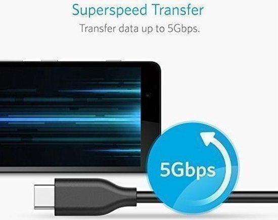 Anker Powerline USB 3.0 naar USB C Kabel 0.9m - 3 pack - Zwart - Anker