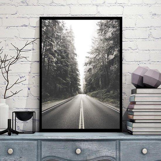 Bol Com Postercity Design Canvas Poster Zwart Wit Bosweg Muurdecoratie 40 X 30cm A3