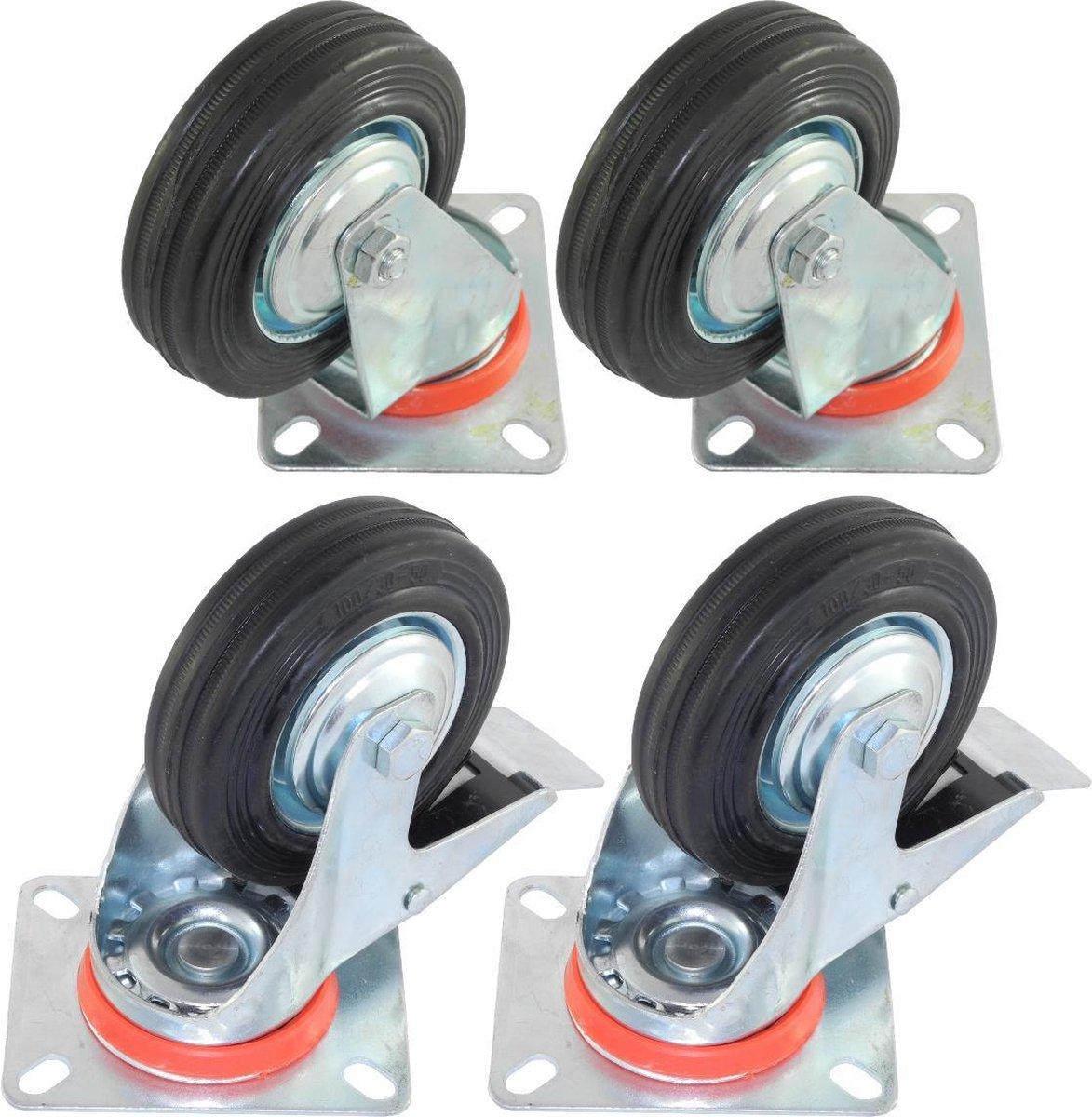 Set van 4 zwenkwielen transportwielen 100mm   2x met + 2x zonder rem   Draagvermogen 4x70kg Bevestig