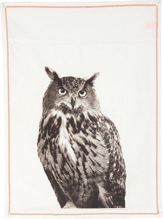 Present Time, Owl - Theedoek - 50x70 cm - Katoen - Wit