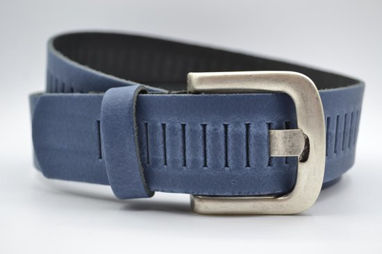 Blauwe Glad Leren Riem – Nederlands split leer – Heren Dames Unisex – Taille maat: 105 cm – Totale lengte: 120 cm – Merk: Scotts Bluf