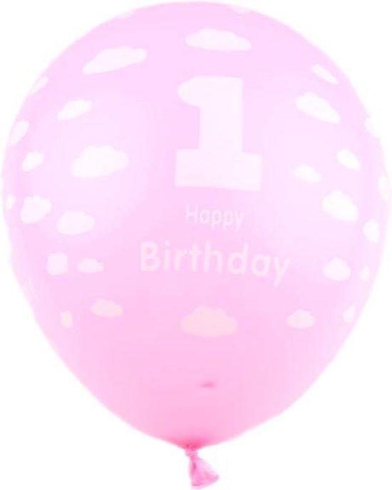 Ballonnen 1st birtday roze 30 cm 8 stuks
