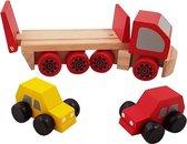 Houten autotransporter met 2 autootjes rood
