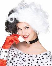STYLER - Zwart-witte Devil pruik voor vrouwen - Pruiken