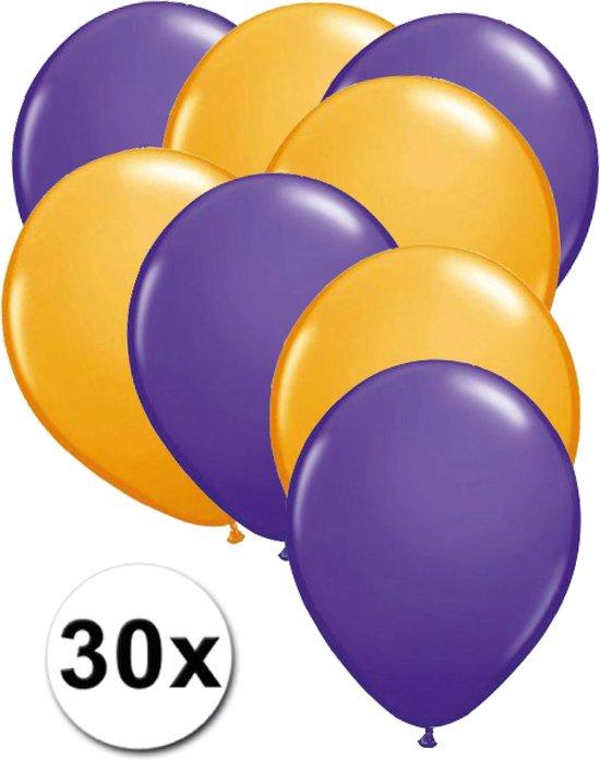 Ballonnen Paars & Oranje 30 stuks 27 cm