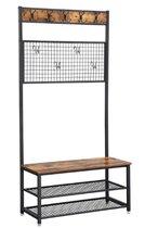 MIRA Home Garderoberek - Kapstok met zitbank en schoenenrek - Multifuctioneel - 9 haken - Industrieel - Vintage - Bruin/zwart - 92x41,5x187