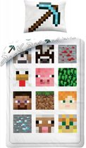 Minecraft Pixel - Dekbedovertrek - Eenpersoons - 140 x 200 cm - Wit