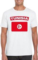 Tunesie t-shirt met Tunesische vlag wit heren XL