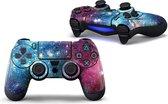 Controller sticker - Geschikt voor Playstation 4 – Galaxy Blauw/Paars