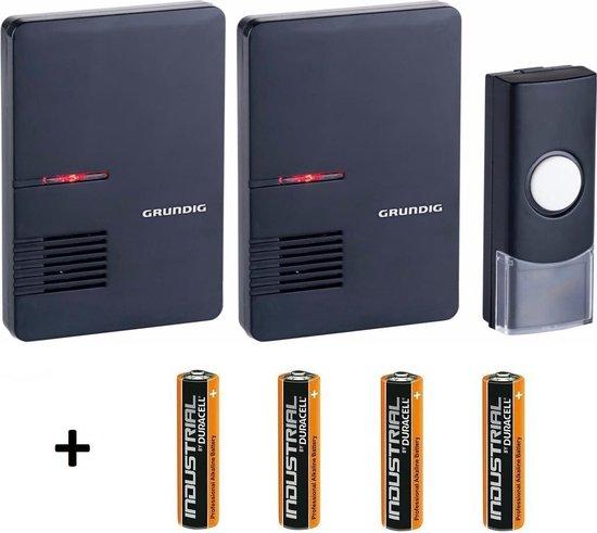 Grundig Draadloze Deurbel met 2 draagbare ontvanger Inclusief Duracell Batterijen - Grundig
