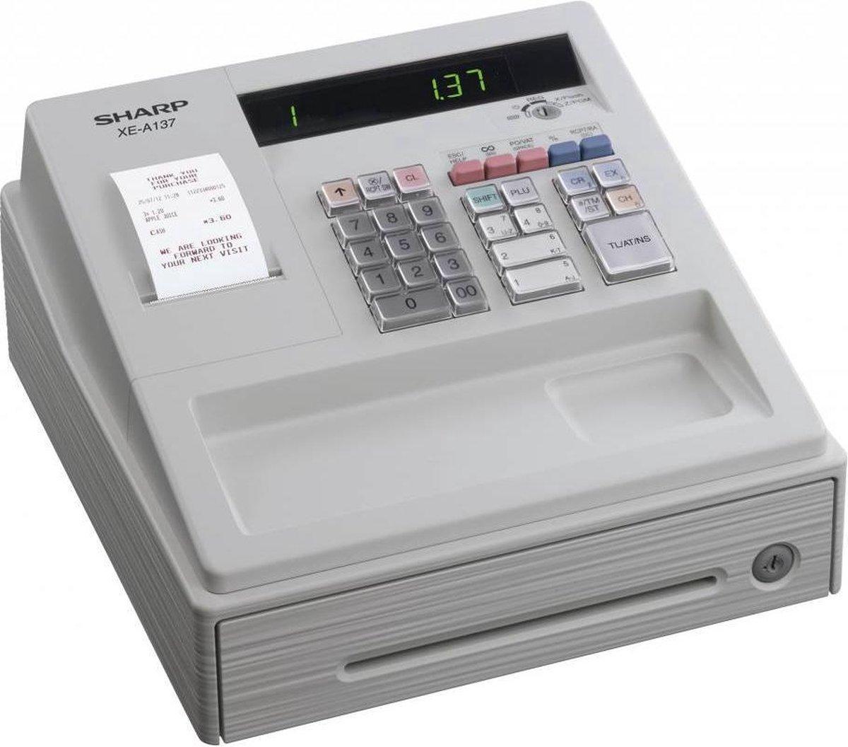 Winkel kassa en horeca kassa - Sharp XE-A137WH - compact en eenvoudig - wit - 1 stuk