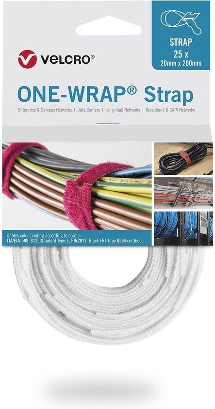 Velcro One-Wrap klittenband kabelbinders 200 x 12mm / wit (25 stuks)