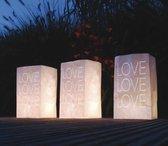 5x stuks Candle Bags set  LOVE thema 26 cm