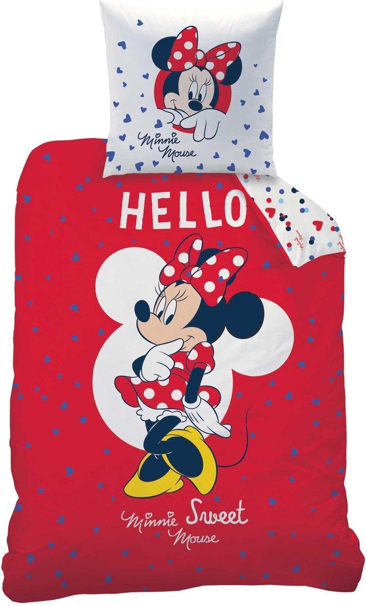 Disney Minnie Mouse Hello - Dekbedovertrek - Eenpersoons - 140 x 200 cm - Rood kopen