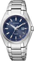 Citizen Super Titanium - Horloge - Titanium - Ø 34 mm - Zilverkleurig / Blauw - Solar uurwerk