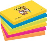 Post-it® Super Sticky Notes - Kleurenset Rio, Neon geel, Mediterraan blauw, Neon Groen, Fuchsia, Neon oranje - 6 blokken