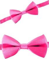 Roze verkleed vlinderstrikje 12 cm voor dames/heren - Roze thema verkleedaccessoires/feestartikelen - Vlinderstrikken/vlinderdassen met elastieken sluiting