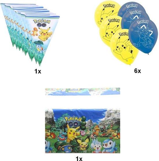 Pokemon Go feestpakket | Vlaggenlijn 250 cm | 6x Latex Ballonnen | Tafelkleed 180x108 cm