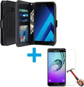 Cyclone Pack Box Samsung Galaxy A3 2017 Book PU lederen Portemonnee hoesje Book case zwart met Glazen screenprotector