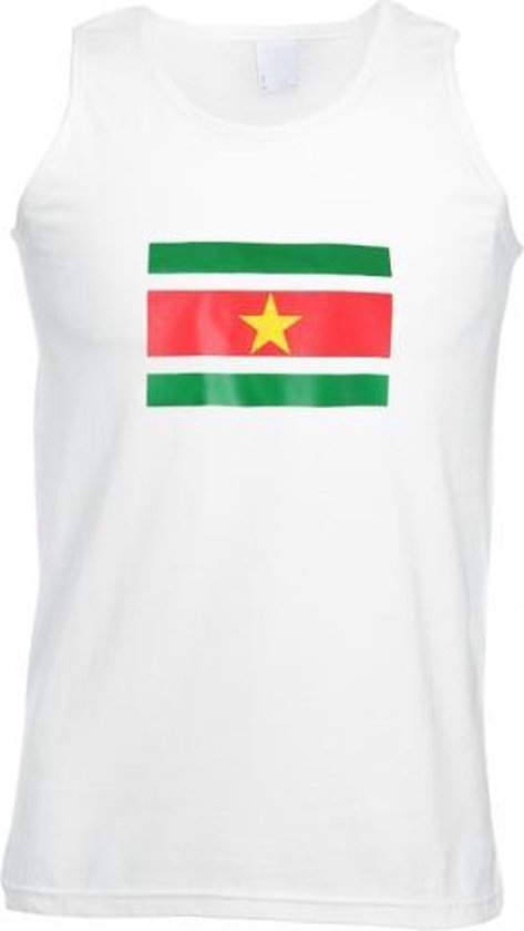 Suriname mouwloos shirt wit volwassenen M